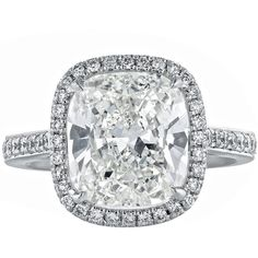 Preowned 4.01 Carat Gia Cert Cushion Diamond Platinum Solitaire... (1 549 090 ZAR) ❤ liked on Polyvore featuring jewelry, rings, multiple, preowned engagement rings, diamond engagement rings, solitaire ring, platinum engagement rings and pave setting engagement rings