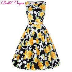 Belle Poque Print Floral 50s Vintage Dresses Audrey Hepburn 17 Women Summer Retro Dress vestidos robe Womens Casual Clothing