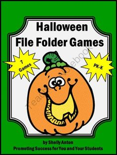 Halloween File Folder Games Special Education Autism PK-K Independent Work Tasks from Promoting Success on TeachersNotebook.com (30 pages)  - Halloween File Folder Games Special Education Autism PK-K Independent Work Tasks -- Here are 7 file folder games with a fun Halloween theme. Students will practice beginning sounds, patterns, upper and lower case letters, sight words, counting, addition,