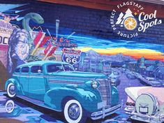 Put yourself in front of this colorful depiction of Route history in a half-block long artistic ode to the Mother Road by Mural Mice Universal. Route 66, Great View, Mice, Tourism, Colorful, History, Cool Stuff, Artist, Pictures