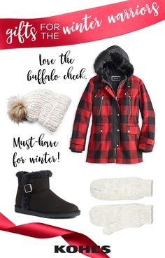 For the winter warriors, cold weather's got nothing on them—as long as they've got the warmest layers to bundle up in. Give the Christmas gift of winter warmth to your favorite winter fan (hint: these are perfect for moms, sisters and daughter!). Featured product includes: women's Apt. 9 hooded wool blend anorak jacket, SO fuzzy ankle boots, Mudd chunky knit faux-fur pom-pom hat and SONOMA Goods for Life cable-knit lurex mittens. Give the good stuff with Kohl's.
