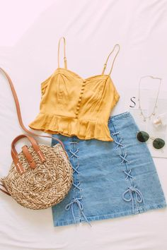 A little bit of mustard goodness 🌼  FOREVER 21 | MUSTARD | YELLOW TOP | YELLOW SHIRT | CAMISOLE | PEPLUM BLOUSE | SUMMER STYLE | LACE-UP SKIRT | DENIM SKIRT | MINI SKIRT | YELLOW AND BLUE | STRAW BAG | FLATLAY | STYLE | FASHION | INSTAGRAM