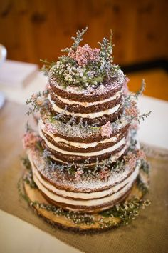 Rustic wedding naked carrot cake / http://www.deerpearlflowers.com/rustic-wedding-details-and-ideas/2/