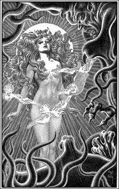 Virgil Finlay, illustration for The Ship of Ishtar by A. Art And Illustration, Art Illustrations, Art Pulp, Science Fiction, Occult Art, Ex Libris, Cthulhu, Dark Art, Art Inspo
