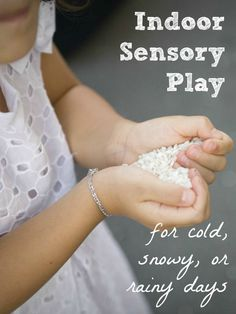 Simple indoor sensory play idea for babies and toddlers. Perfect for cold, snowy, or rainy days!