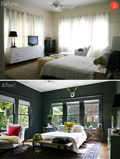 I like the change in this room.  I would never think to use a dark color on the walls.  Very cool!!