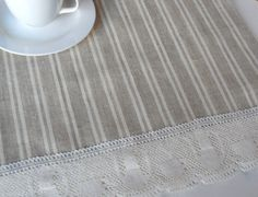 Striped linen table runner linen and lace organic by cikucakuu, $26.00