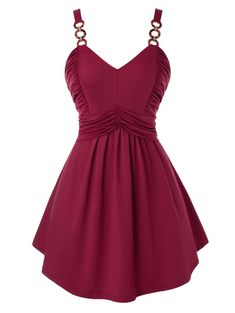 [29% OFF] 2020 Plus Size Ring Ruched Backless Tunic Tank Top In RED WINE | DressLily