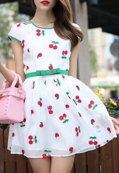 Cherry Embroidered Flare Dress 23.67