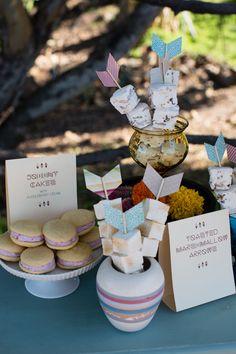 Toasted marshmallow arrow dessert ideas #thanksgiving #desserts #marshmallow #themewedding http://www.weddingchicks.com/2013/11/22/native-american-wedding-ideas/