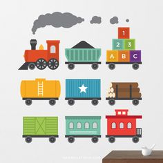 Overview Create the perfect nursery or kids bedroom space with this stylish Train Wall Decal set from Maxwill Studio. - Easy to apply, just peel and stick - Removable, reusable, repositionable - Non-t