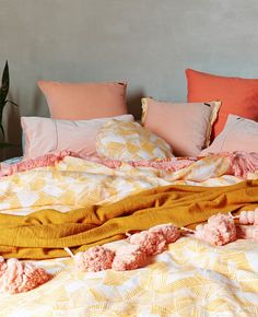 Kip & Co return with another bold bedding collection - The Interiors Addict Mustard Bedding, Linen Bedding, Bed Linen, Kohls Bedding, Duvet, Grown Up Bedroom, Dream Bedroom, Bedroom Inspo, Bedroom Decor