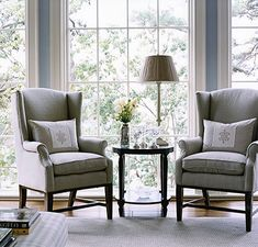 now i know how i will recover my grandmother's wingback chair... just. like. this. <3 gray.