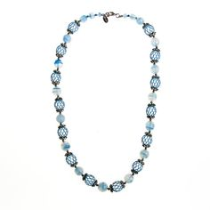 Blue Art Glass Necklace by Vendome Unique and Rare, this piece dates from the 1950s Era Swirled Blue Art Glass Beads accented with painted