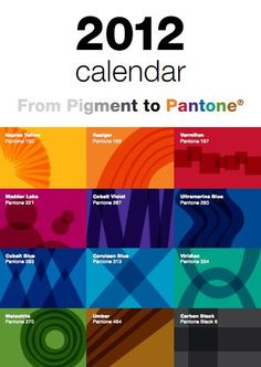 This would be great to print for the Graphic Design Lab.   FREE Pantone 2012 Printable Calendar!