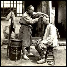 In 1644 when the Shunzhi Emperor first conquered China, he decreed that all Chinese men should have their hair worn in this Manchu style. Shaved at the front and a long braid at the back.