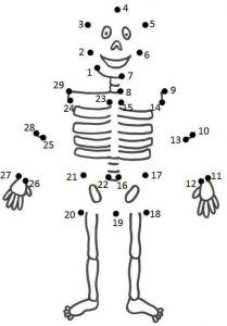 Easy dot to dot worksheets - Body Preschool, Preschool Learning, In Kindergarten, Learning Activities, Activities For Kids, Human Body Systems, Connect The Dots, Halloween Coloring, Colouring Pages