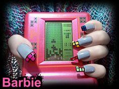 Tetris Nails - Three-dimensional nail design shaped like the nostalgic tile-matching puzzle video game tetris.