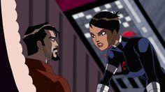 Maria Hill and Tony Stark