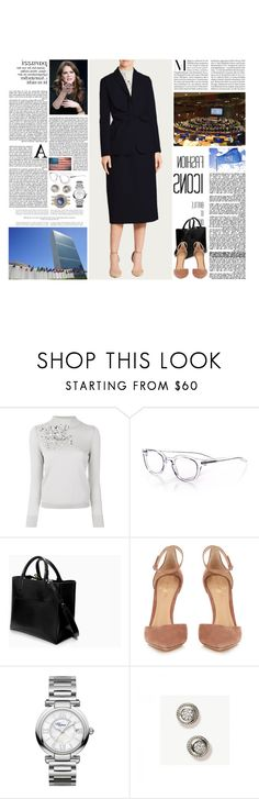 """""""Untitled #2992"""" by duchessq ❤ liked on Polyvore featuring Delpozo, eyebobs, Zara, Gianvito Rossi and Chopard"""