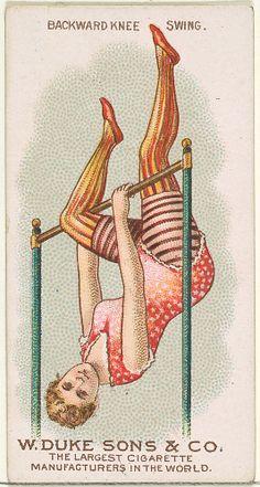 Backward Knee Swing, from the Gymnastic Exercises series for Duke brand cigarettes. (via The Metropolitan Museum of Art) Circus Art, Circus Theme, Vintage Circus, Illustrations, Vintage Ephemera, Metropolitan Museum, Vintage Advertisements, Vintage Posters, Drawings