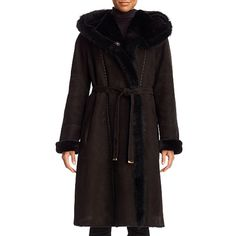 Christia Hooded Shearling Belted Coat ($4,950) ❤ liked on Polyvore featuring outerwear, coats, medium brown, parka coat, shearling parka, hooded shearling coats, a-line coat and tie belt