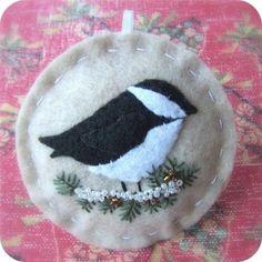 Chickadee Felt Christmas Ornament