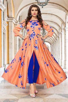 c74b39e75f Orange Crepe Party Wear Designer Gown