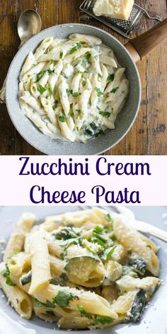 Zucchini Cream Cheese Pasta, an easy, creamy and delicious pasta recipe, made with light cream cheese.A Healthy, fast vegetarian pasta dish.|anitalianinmykitchen.com