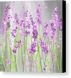 Lavender Canvas Print featuring the painting Lavender Blossoms - Lavender Field Painting by Lourry Legarde
