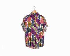 Vintage 90s Tropical Leaf Print Hawaiian Shirt - Women's Small