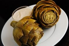 Steamed Artichokes with Balsamic Mayo Dipping Sauce - 2 Points+