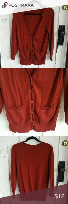 dark orange cardigan dark orange color cardigan, button up, long sleeve Made of 100% cotton XXI Sweaters Cardigans