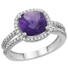 14K White Gold Natural Amethyst Ring Cushion-cut 8x8 mm 2-row Diamond Accents, sizes 5 - 10 ** Hurry! Check out this great product : Promise Rings