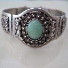 Vintage Chinese Indochina Sterling Silver Jadeite Jade Wide Bracelet