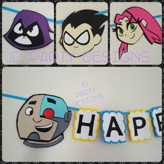 TEEN TITANS GO Inspired banner Robin Beast Boy by IDPartyDesigns