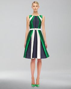 Colorblock Shantung Dress & Leather Belt by Michael Kors at Neiman Marcus.