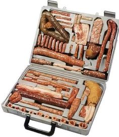 Sausage Tool Kit Because I care enough to only send the best ;P Sausage Tool Kit by terr-bo. Informations About Sausage Tool Kit Because I care enough to only s Charcuterie, Sausage Party, Hot Chocolate Bars, Fresh Memes, Vintage Recipes, Vintage Food, Tool Kit, Briefcase, Displays