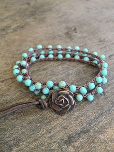 """Turquoise Crochet Multi Wrap Bracelet """"Boho Chic"""", via Etsy. Reminds me of Oklahoma- turquoise for Native America and our state rock- Rose Rock-g I Love Jewelry, Boho Jewelry, Jewelry Crafts, Jewelry Bracelets, Jewelry Accessories, Fashion Accessories, Handmade Jewelry, Fashion Jewelry, Jewelry Design"""