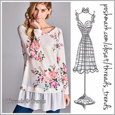 Roses In Bloom Sweater Lovely Roses in bloom print ruffle hem sweater. Made of cotton blend and chiffon ruffle hem detail. Right on trend and perfect transition piece. Size S, M, L Threads & Trends Sweaters