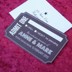 RSVP Cards. Ticket to the gun show..er, fun show.