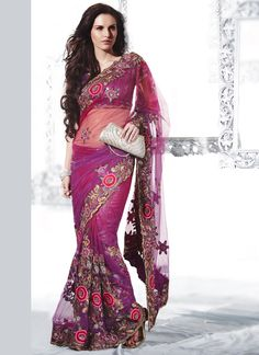 Vibrant Flora Embroidered Net Saree
