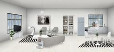 Modern open space, kitchen and dining room/ living room