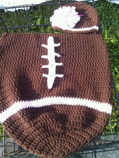 crochet Football cocoon and hat
