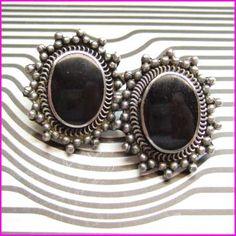 Vintage Black Onyx Earrings Silver Medallions 1960s Ethnic Jewelry
