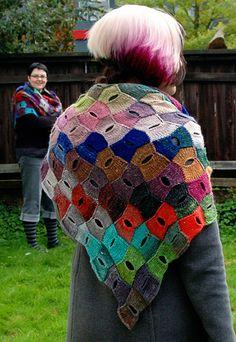 Motley entrelac buttonhole shawl: Knitty Deep Fall 2010