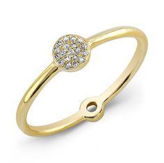 14KT Yellow Gold Diamond Mini Disc Ring