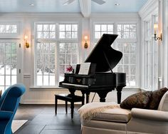 I want a piano room someday. Also, piano lessons. Piano Vertical, Grand Piano Room, Piano Room Decor, The Piano, Sunroom Decorating, Decorating Ideas, Sunroom Ideas, Decor Ideas, Small Sunroom