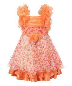 Orange Floral Ruffle Dress - Toddler & Girls #zulily #zulilyfinds
