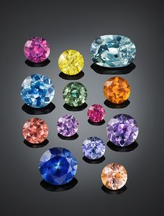Various colors of heated Missouri River sapphires, ranging from to ct. Courtesy of American Sapphire Company, © Robert E. Minerals And Gemstones, Crystals Minerals, Rocks And Minerals, Stones And Crystals, Gem Stones, 3d Quilling, Rocks And Gems, Gemstone Colors, Stone Jewelry
